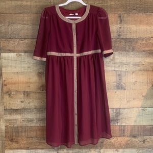 ASOS Maternity maroon dress button down Size 6